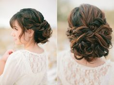 Really pretty updo - waterfall braid with a twist instead, then did lots of loose twists and pinned them at her nape