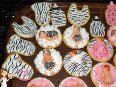 animal print baby girl cookies