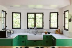 awesome green cabinets