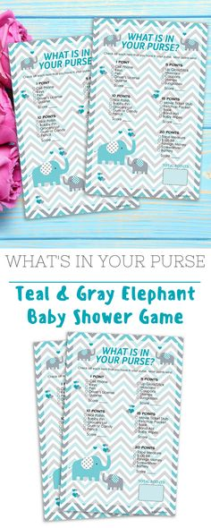 These Teal Blue and Gray Elephant Themed What's In Your Purse Game Cards are perfect for Boy Baby Showers. #boyelephantshower