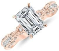 2.3 Ctw 14K Rose Gold GIA Certified Emerald Cut Channel Set Eternity Curving Diamond Engagement Ring