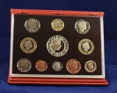 2003 United Kingdom UK Proof coin collection red leather case