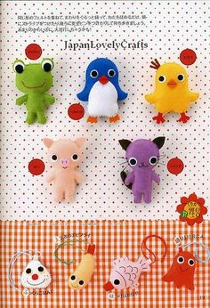 HAPPY FELT FRIENDS BY NAOMI TABATHA - JAPANESE HANDMADE CRAFT PATTERN BOOK - STUFFED ANIMALS, MASCOT, BAG, EMBLEM, MASCOTS - KAWAII AND LOVELY 3 by JapanLovelyCrafts, via Flickr