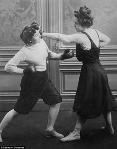 """Early 20th century women's sports. """"Take that: The female competitors - whose names are recorded as Fraulein Kussin and Mrs Edwards - fought on 7 March 1912"""""""