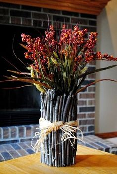 fall decor ideas for the home DIY Twig Vase - Iowa Girl Eats - twig vase Best Picture For diy furniture For Your Taste You are looking for something, and it is - Rustic Style, Rustic Decor, Flower Vases, Flower Arrangements, Diy Flower, Floral Arrangement, Diy Projects For Fall, Project Ideas, Brindille