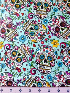 Recover piano bench: Sugar Skull Fabric By The Yard by CutiePieCraftSupply on… Sugar Skull Wallpaper, Sf Wallpaper, Wallpaper Backgrounds, Iphone Wallpaper, Pumpkin Wallpaper, Wallpaper Patterns, Sugar Scull, Sugar Skull Art, Skull Fabric