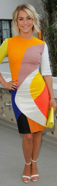 Who made Julianne Hough's color blocked dress that she wore in Los Angeles on June 12, 2013?