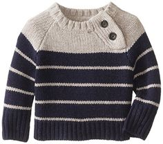 JoJo Maman Bebe Child-Boys New child Raglan Sweater Gray Navy Stripe - Baby And Women Knitting Patterns Boys, Baby Cardigan Knitting Pattern, Baby Boy Knitting, Knitting For Kids, Baby Patterns, Baby Boy Sweater, Knit Baby Sweaters, Boys Sweaters, Baby Boys