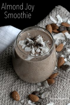 Grain Crazy: Almond Joy Smoothie (Sugar Free). Enjoy a candy bar in a cup without the guilt. Good to the last drop. #chia