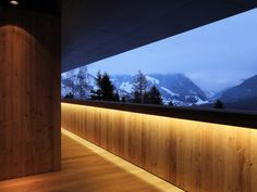 Alpine House by Ralph Germann architectesRalph Germann architectes have designed the Alpine House in Fribourg, Switzerland. This alpine house was designed for a couple who wished to live in a. Facade Lighting, Exterior Lighting, Outdoor Lighting, Light Architecture, Architecture Details, Wooden Architecture, Led, Living Haus, Brick Effect Wallpaper