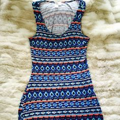 SALE!!-Super cute and comfy maxi dress! Colorful Tribal print tank style maxi dress with back cutout. No slits. Only worn once RD Style Dresses Maxi