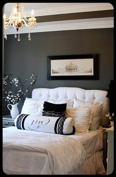 love the gray/white, headboard, light,...