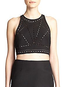d392bab9f2958 Elizabeth and James - Black New Upton Laser-cut Cropped Top - Lyst