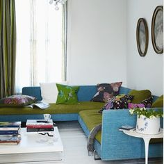 Analogous: The green, blue and violet in this room represent an analogous room; the colors put together in this room make it more lively. These colors are next to each other on the color wheel.