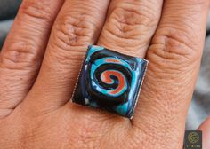 Free Shipping! Polymer Clay Ring African Jewelry African Ring Tribal Ring Boho Ring Tribal Jewelry Girlfriend Gift Unique Ring Colorful Ring by Etniika on Etsy