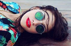 Coastal print with awesome colour story, red lips, Elton John inspired sunnies.     Zoey Grossman for Planet Blue