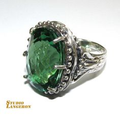 Chrysoprase ring sterling silver, handmade, solid 925 silver, natural Chrysoprase, size 7.5 by StudioLangeron on Etsy