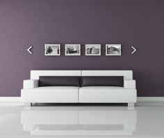 Picture of purple and white interior with contemporary photo frame and black and withe images - the images on wall are my photo stock photo, images and stock photography. Purple Walls, Love Your Home, Trends, Couch, Stock Photos, Contemporary, Bedroom, White Frames, Interior