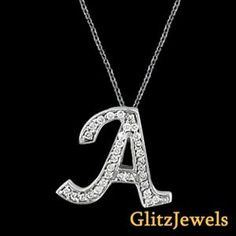 "18K White Gold 0.20 Ctw Round Brilliant SI/G-H Diamond Initial A Pendant With 18"" Chain  http://www.glitzdiamond.com/product/22119/18K_White_Gold_0.20_Ctw_Round_Brilliant_SI_G-H_Diamond_Initial_A_Pendant_With_18%22_Chain/"