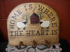 Sign Peg Rack, Wall Decor, Primitive Country, Rustic Farmhouse, Wood Peg Shelf, Hand Painted Folk Art