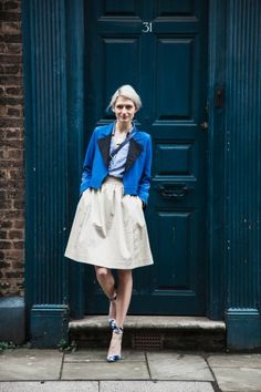 Meet A Striking London Art Guru — Altuzarra dress, Gianvito Rossi for Altuzzara shoes, vintage YSL tuxedo jacket, and Marc by Marc Jacobs bag.
