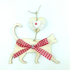 Gatto Vichy Rosso handmade wood cat decoration only by Daffodil Bijoux