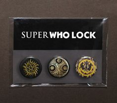 Set of 3 SuperWhoLock buttons / badges / by TheSqueakyGeek on Etsy, £3.49
