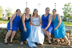"""Jenny Lynn Dennis chose an OuterInner wedding gown, and we love this bright shot of herself and her bridesmaids! She said: """"I wanted to thank you OuterInner, again I got awesome feedback from friends and family about the dress, here is a picture of the dress , me and my bridesmaids"""" See her wedding gown here: http://www.outerinner.com/blue-embroidery-satin-ball-gown-wedding-dress-pd-08983-0.html"""