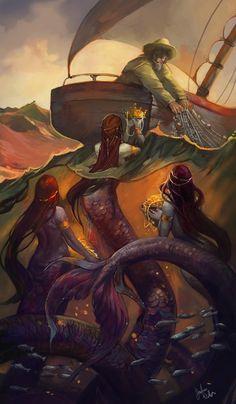 Fantasy art gallery from Julie Dillon Mythological Creatures, Fantasy Creatures, Mythical Creatures, Arte Horror, Horror Art, Sirene Tattoo, Illustrations, Illustration Art, Mermaids And Mermen