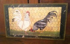 Primitive French Country Farmhouse Chicken Wire Hen ROOSTER PICTURE Sign Plaque  #RusticPrimitive
