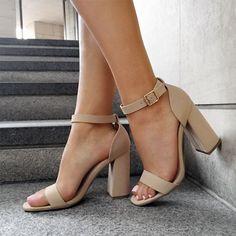 Nude sandals - shop now more chaussure tendance, chaussure mode, chaussure Nude Sandals, Pumps Heels, Chunky Heel Sandals, Chunky Heels Outfit, Nude Heels, Sandal Heels, Black Dress Heels, Tan Strappy Heels, Comfy Heels