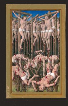 f. 177v, De los diez mil mártires. La pintura se divide en dos planos; en el inferior, cinco hombres arrojados sobre ...