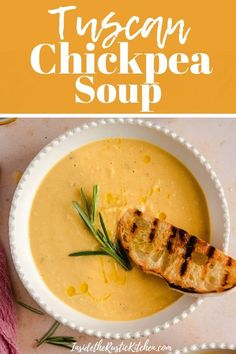 Tuscan Chickpea Soup - Creamy, healthy and delicious Italian chickpea soup made with simple pantry ingredients. Ready in o - Falafel Recipe Canned, Chickpea Flour Recipes, Chickpea Salad Recipes, Oven Roasted Chickpeas, Crunchy Chickpeas, Chickpea Masala, Chickpea Soup, Chickpea Tacos, Recipes