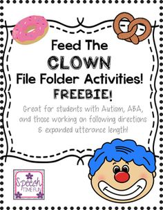 Speech Time Fun: How I am Working on Expanding Utterances Using My Feed the Clown File Folder Activities Speech Therapy Worksheets, Speech Activities, Speech Language Pathology, Speech Therapy Activities, Language Activities, Speech And Language, Grammar Activities, Articulation Activities, Teaching Resources