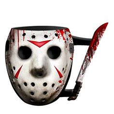 Friday The Sculpted Mask & Machete 20 oz Jumbo Mug (Drinkware). Ceramic sculpted mug with the unforgettable likeness of the Jason Mask with Knife Holds of your favorite hot beverage at a comfortable temperature Beautiful, detailed ceramic sculpt capt Horror Villains, Friday The 13th, Funny Coffee Mugs, Mug Cup, Halloween Themes, Mug Designs, Coffee Cups, Sculpting, Ceramics