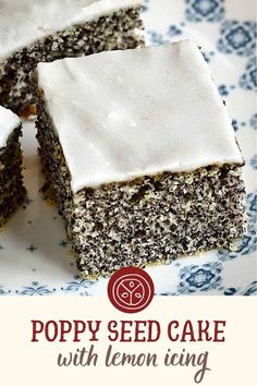 Poppy Seed Recipes, Dessert From Scratch, Poppy Seed Cake, Lemon Icing, Czech Recipes, Cake Icing, Food Staples, Sweet And Salty, Coffee Cake