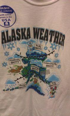Alaska Weather Map - Large T-Shirt - Funny Novelty Tshirt - Ships worldwide!