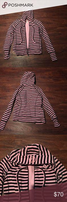 Lululemon black/pink stripe hoodie 6 Lululemon scuba hoodie pink/black stripe, EUC, w/ thumb holes, size 6 lululemon athletica Tops Sweatshirts & Hoodies