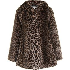 Marble Leopard Faux Fur Hooded Coat (£85) ❤ liked on Polyvore featuring outerwear, coats, jackets, casacos, coats & jackets, faux fur hood coat, leopard print coat, brown coat and leopard coat