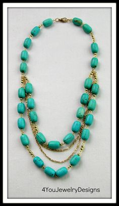 Turquoise necklace, Turquoise jewelry, Gold plated chains, Fashion jewelry,Statement necklace