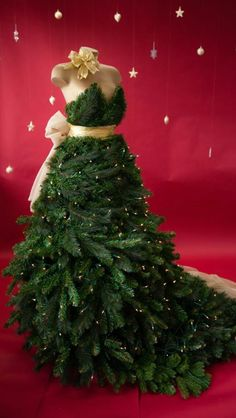 Got all spruced up for the Holidays,Christmas tree dress,decorative dress form/mannequin