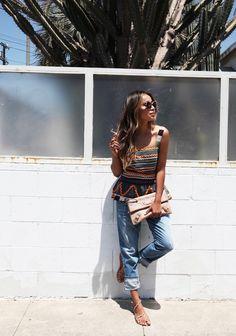 Blogger Style l Julie Sarinana (Sincerely Jules): printed boho peplum top x boyfriend jeans x strappy sandals x balenciaga clutch c sunglasses