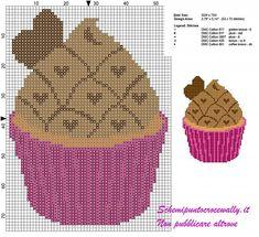 cross stitch pattern with chocolate cupcakes and little hearts Cupcake Cross Stitch, Cross Stitch Fruit, Cross Stitch Kitchen, Cross Stitch Kits, Cross Stitch Designs, Spiderman 2, Stitch Cartoon, Blackwork Embroidery, Baby Dragon