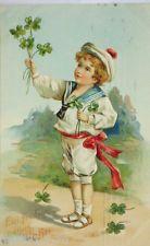 """""""Neujahr, Kinder, Matrose, Kleeblatt"""" 1909, Prägekarte ♥  (13214)"""