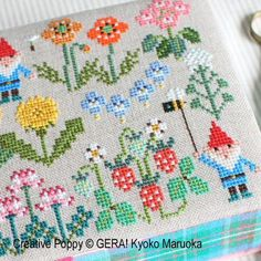 Gnomes In Springfield cross stitch pattern by GERA! by Kyoko Maruoka Embroidery Patterns, Hand Embroidery, Cross Stitch Patterns, Red And White Mushroom, Bookmark Craft, Wild Strawberries, Hardanger Embroidery, Satin Stitch, Embroidery Techniques