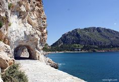 The tunnel along promenade, a mile km) stone-paved path along the coastline of the peninsula in - Painting Collage, Paintings, Paths, Greece, Swimming, Country, Awesome, Photography, Travel