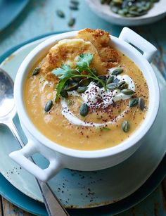 Carrot, ginger and parsley soup with mini feta fritters and pumpkin seeds - Sainsbury's Magazine
