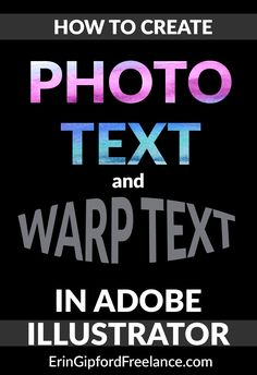 In this Adobe Illustrator Tutorial I will demonstrate how to create photo text and how to warp your text.