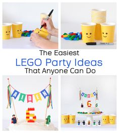 Lego Birthday Party Ideas for a simple but fun Lego party! Decorate a Lego Cake., Birthday Party Ideas for a simple but fun Lego party! Decorate a Lego Cake the easy way with minigures and a personalized cake topper. 6th Birthday Parties, Birthday Fun, Lego Parties, Cake Birthday, Diy Lego Birthday Party Ideas, 5th Birthday Ideas For Boys, Lego Birthday Banner, Lego City Birthday, Lego Party Games