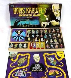 "archiemcphee: "" atomic-flash: "" Boris Karloff's Monster Game - Game Gems Edition, 1965 The horror-themed novelty, takes players on a detour to haunted locations. Various incredibly cool 'monster markers' (31 total, one of them resembling Karloff)..."